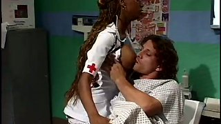 Stunning black nurse gets seduced by her cocky patient