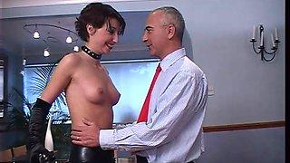 Short haired brunette latex whore Roxanne rides and sucks dick
