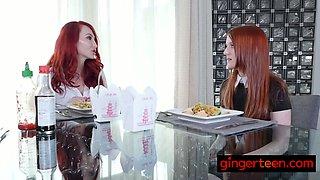 Redhead lesbians pleasing each other