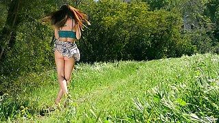 Divine brunette babe Aidra Fox masturbates in the wild