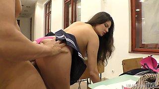 sexy female student sucks dick