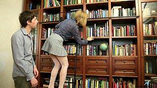 Nerd dude enjoys fucking sex-starved teacher Judith Angel in her anus