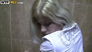 Sexy blonde in pantyhose Pamela banged hard from behind in public toilet
