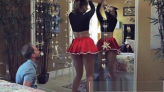 Teen Cheerleader Liza Rowe Shakes Her Pom Poms for Daddy