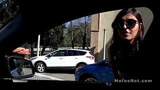 Slim teen bangs strangers big dick in his car