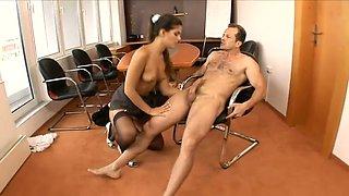 Perfect big bottomed maid Defrancesca Gallardo is a fantastic cowgirl