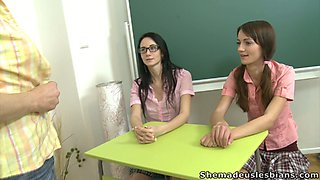 Uncontrollably horny teacher strips in front of her students