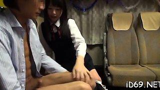 Vehement oriental hottie is having fun with her male boss