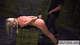Extreme sex session with a blonde slut in bondage